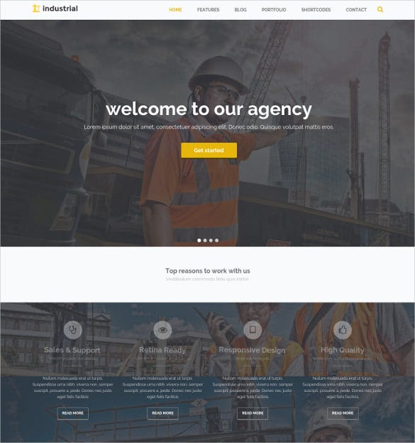 industrial construction industry drupal theme