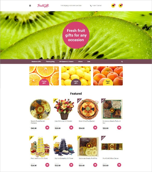 fruit gifts opencart ecommerce template