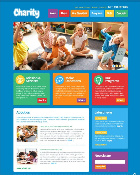 children charity wordpress bootstrap theme