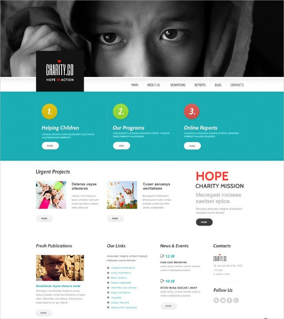 metaphor charity wordpress bootstrap theme