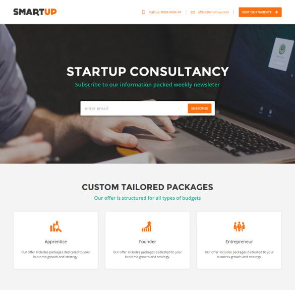 smartup business landing page