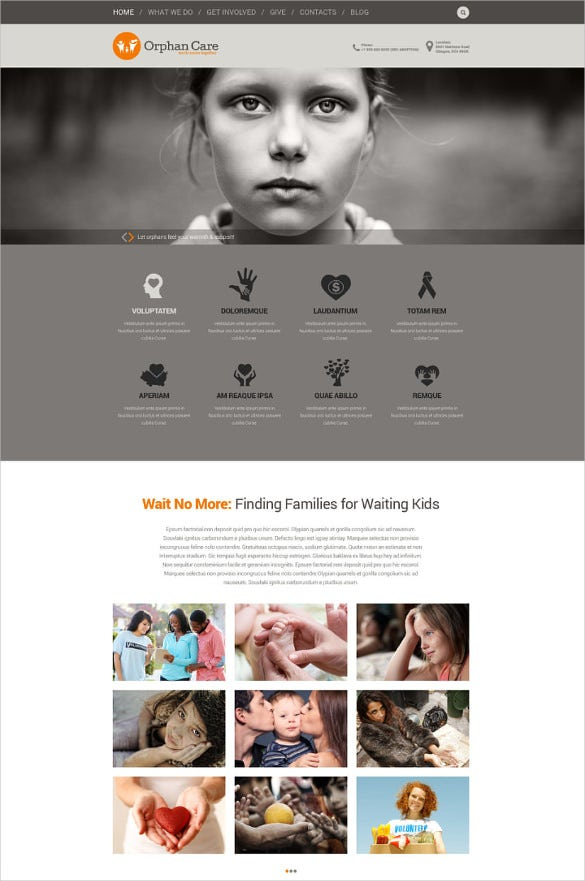 uniting charity families wordpress bootstrap theme