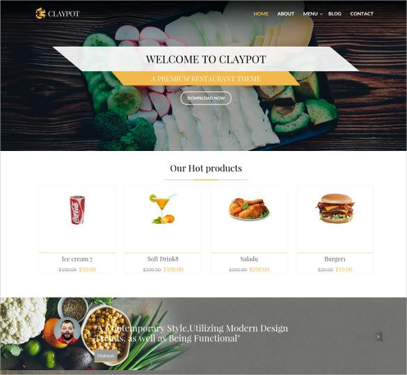 claypot responsive joomla ecommerce restaurant template1