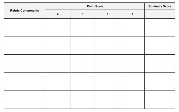blank rubric template 6 free printable pdf word excel format download free premium. Black Bedroom Furniture Sets. Home Design Ideas