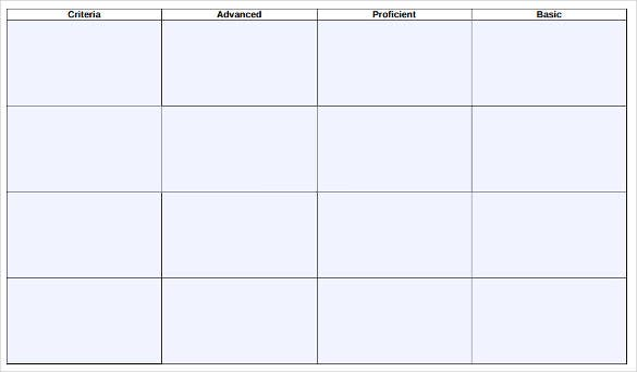 blank rubric template – 6+ free printable pdf, word, excel format, Powerpoint templates