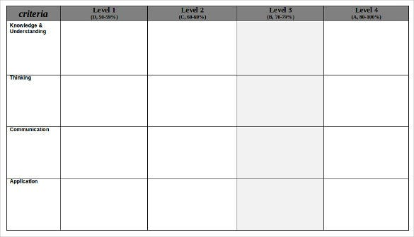 Blank Rubric In Word