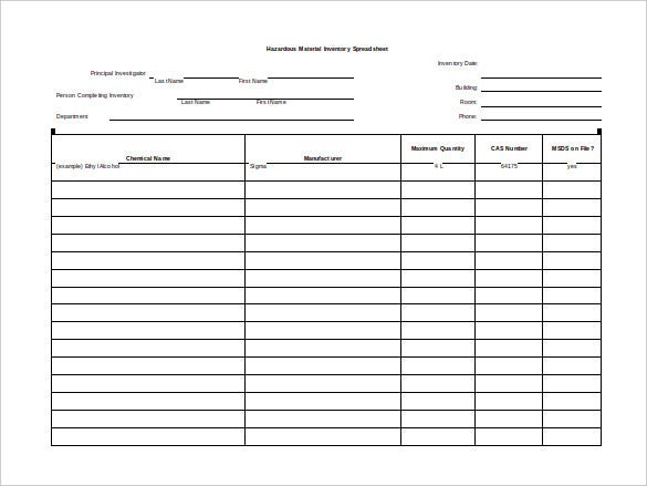 10 Blank Spreadsheet Templates Free Sample Example Format – Blank Inventory Template