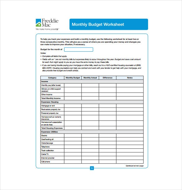 12 Blank Spreadsheet Templates Free Sample Example Format – Blank Budget Worksheet Printable