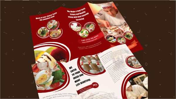 catering services a3 tri fold brochure template