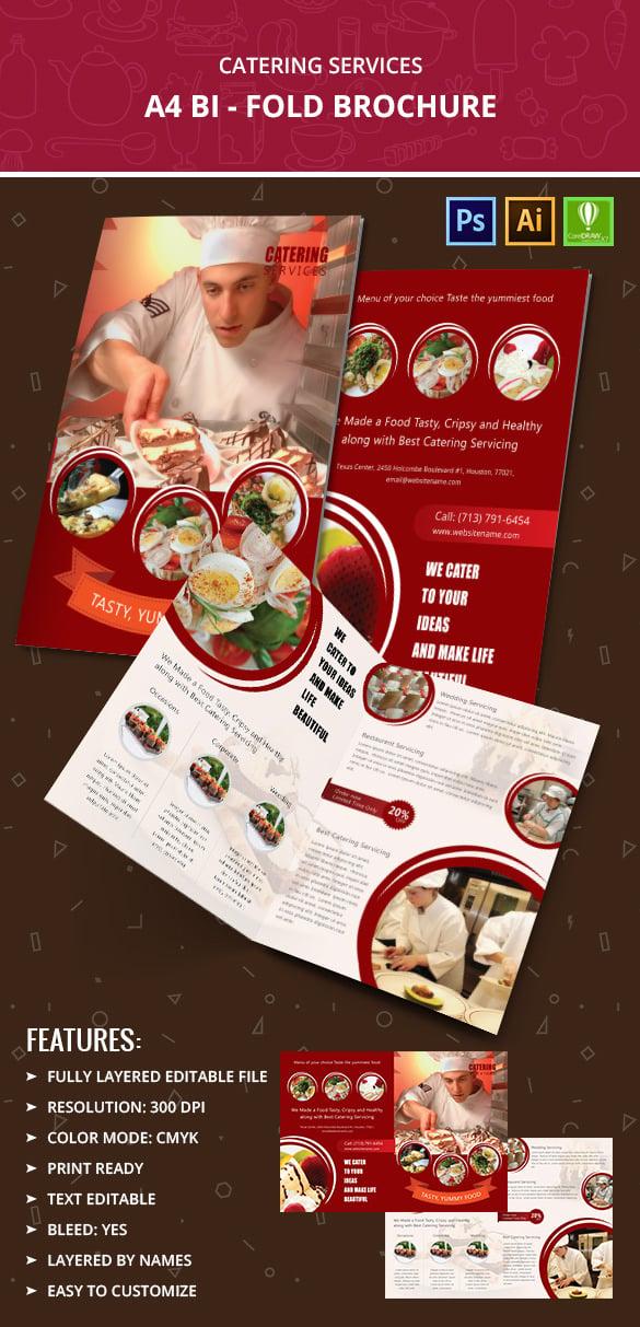 catering services a4 bi fold brochure template