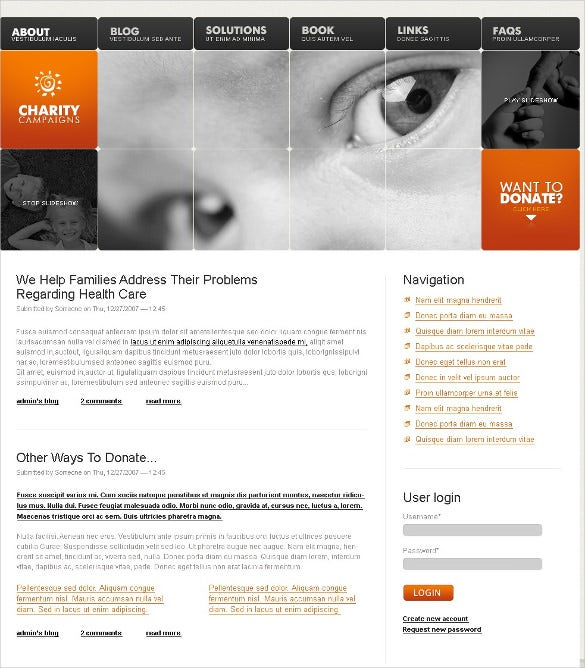 helping charity psd template