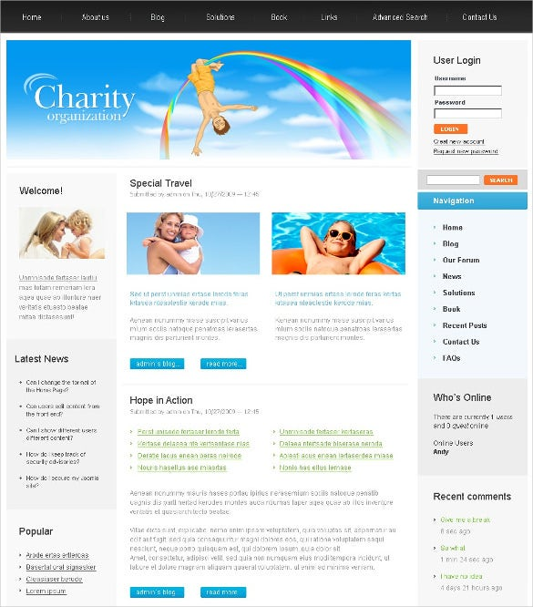 children tour charity psd template