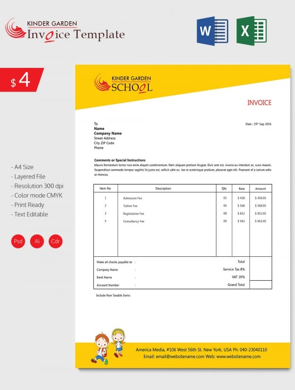 Enticing Kindergarten School Invoice Template Download – School Invoice Template