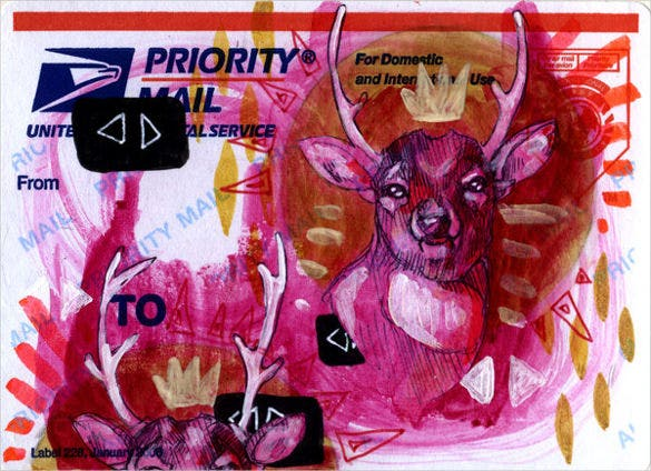 mailing label on pink deer template