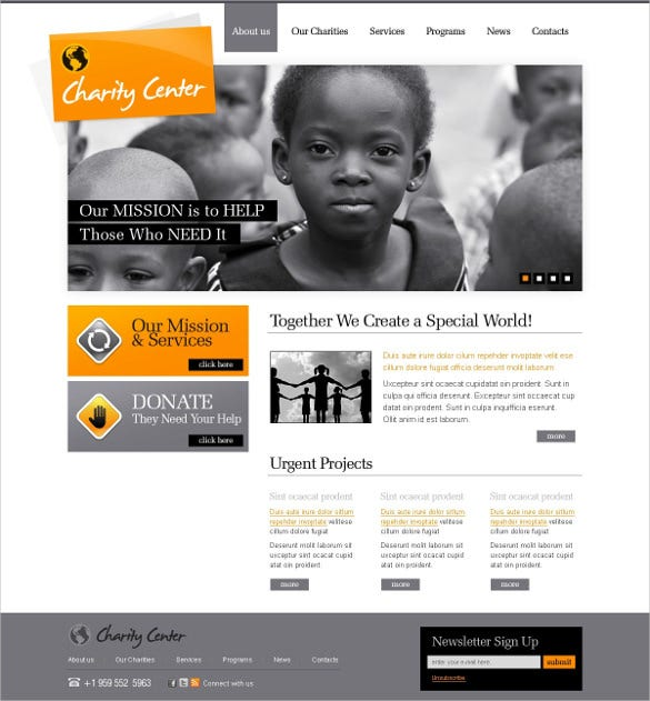 charity center psd template