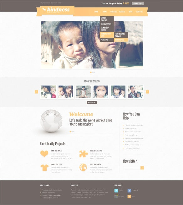 progressive child charity psd template
