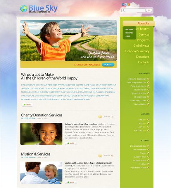 premium charity psd template