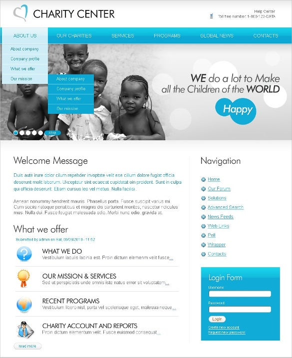 elegant charity center psd template