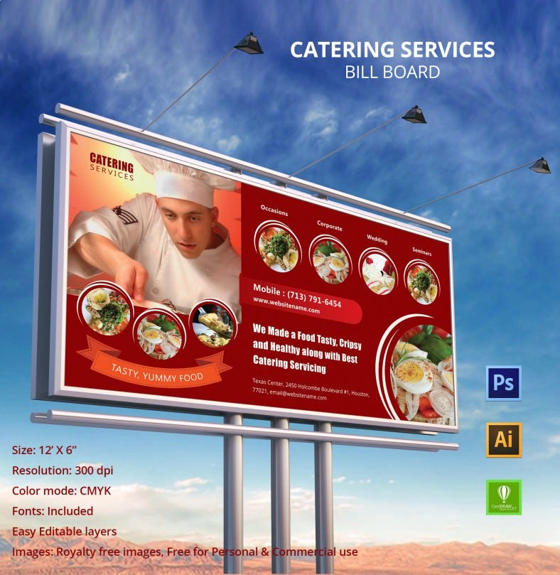 catering services billboard mockup