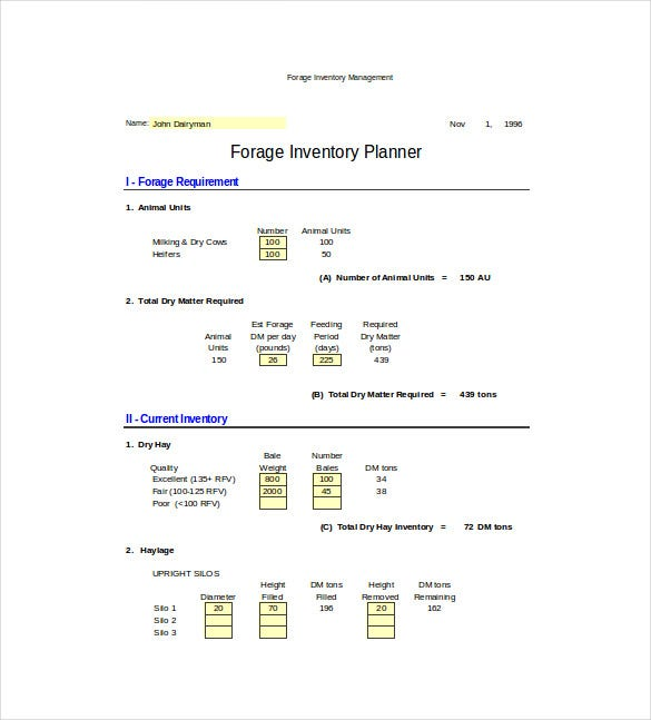 forage inventory management spreadsheet excel format free download