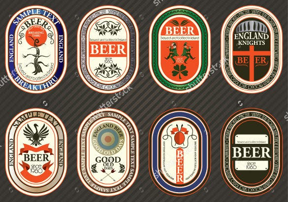 Vector Set Of Beer Label Templates For Various Products