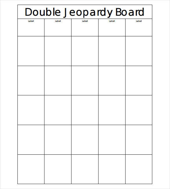 jeopardy board blank