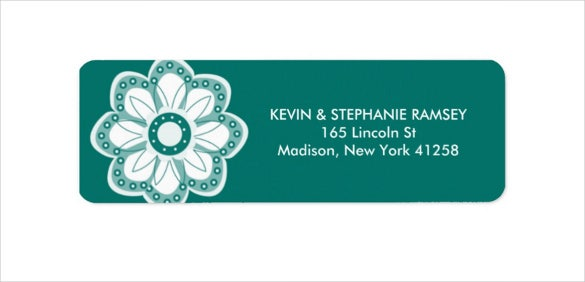 turquoise cute flower return address label download