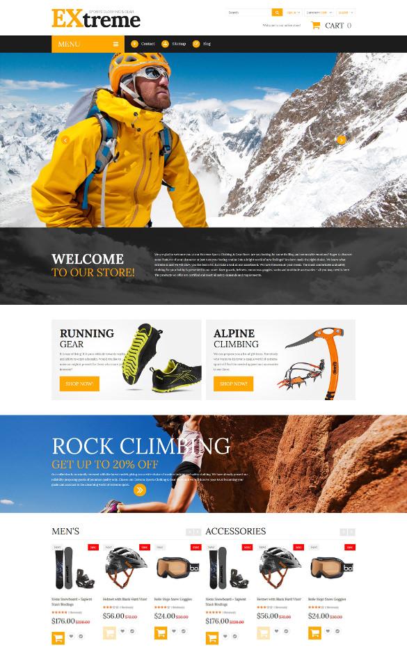 extreme sports clothing prestashop blog theme