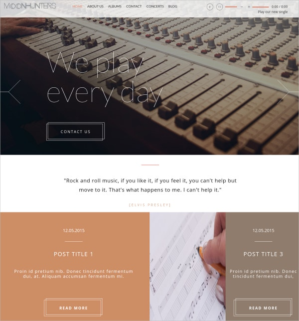 Music Band & Party Multipage Website Template $20