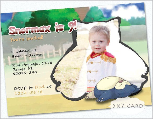 snorlax invitation card kids birthday custom photo children party