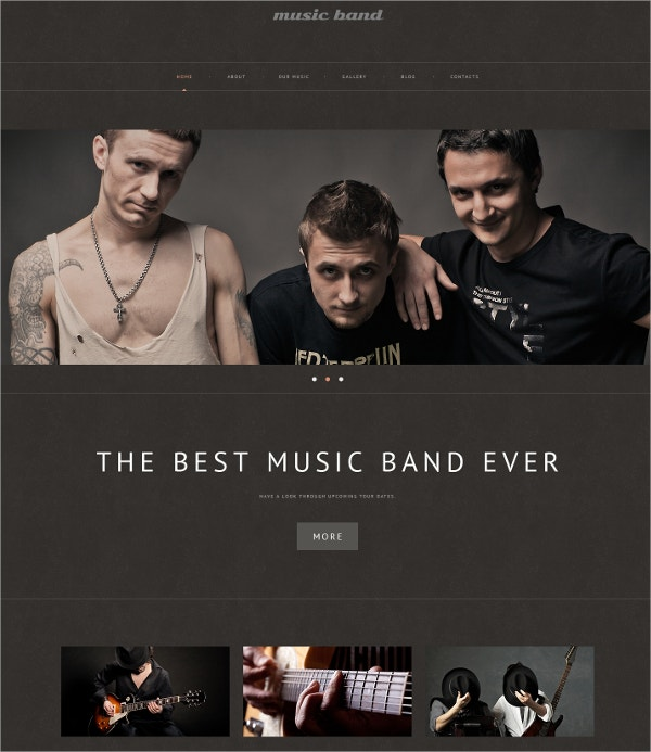 Premium Music Band WordPress Website Theme $75