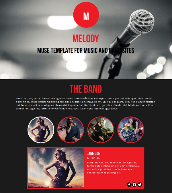 Melody Music And Band Muse Website Theme $19