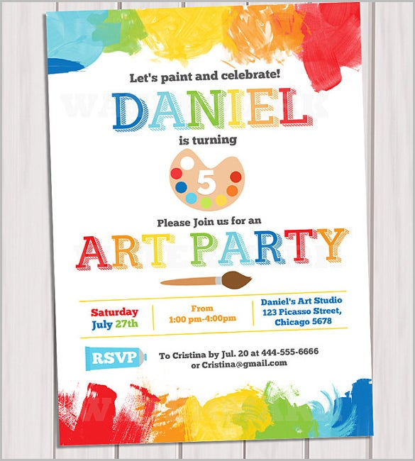art party invitation printable rainbow paint party birthday invitation