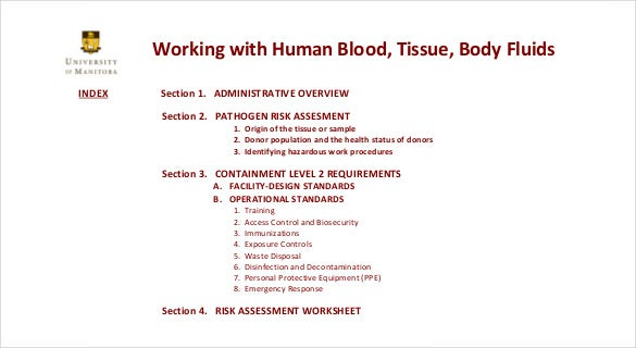 working with human blood tissues and bnody fluids