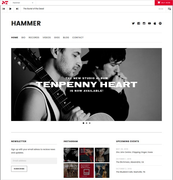 Modern Minimal Music Band Website Theme