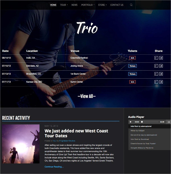 Band & eCommerce WordPress Website Theme $59