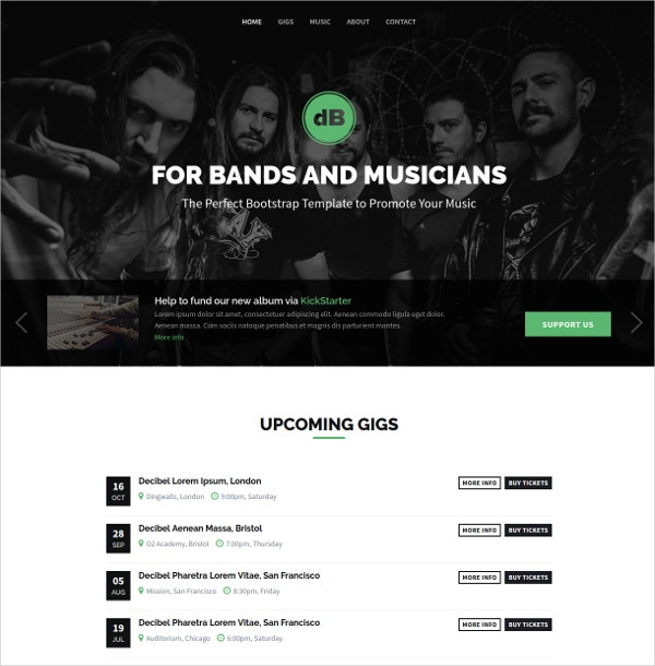 Design Band & Musician Website Theme $18