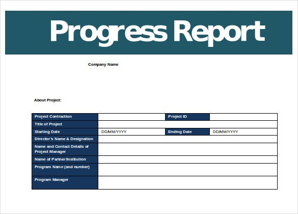 Business Progress Report Template Word Format  Progress Reporting Template
