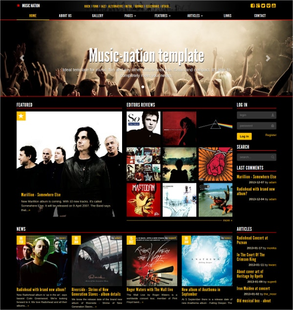 Music Band, Culture Website Theme $12