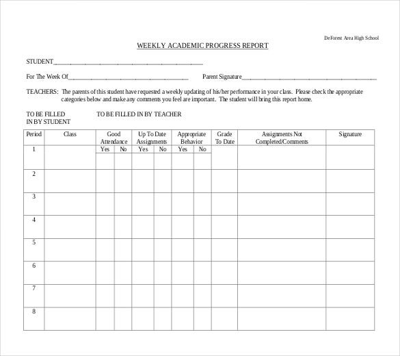 Doc684923 Student Progress Report Format Progress Report – High School Progress Report Template
