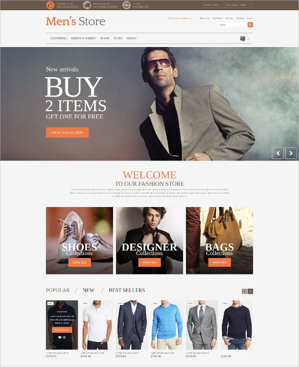 mens retail store prestashop html5 theme