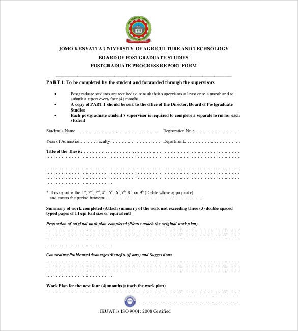 Jkuat.ac.ke | This Template Consists Of A Sample Postgraduate Progress  Report Form For The Students Of An Educational Institution.  Progress Report Template For Students