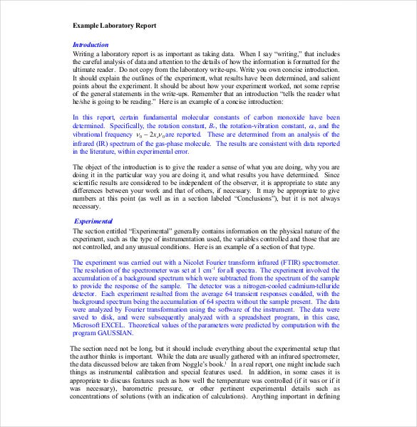 Chemistry Lab Report Template PDF Format  Microsoft Word Templates For Reports