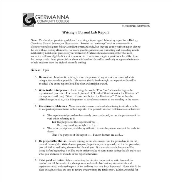 lab report word template