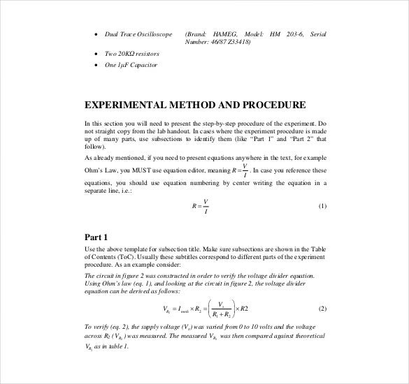 engineering experiment report template
