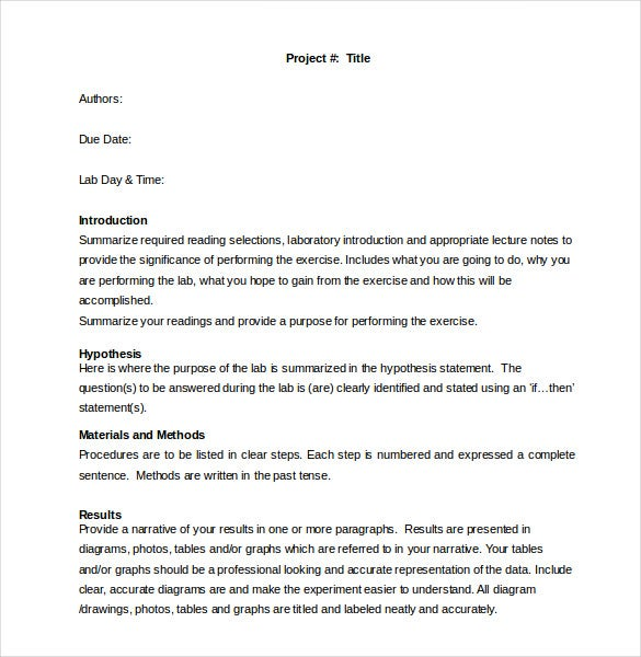 Lab Report Template   Free Word Pdf Document  Free  Premium