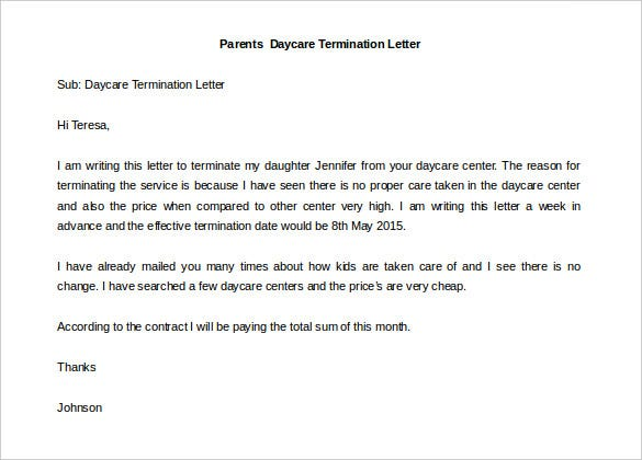 Daycare termination letter 9 free word pdf documents download daycare termination letter from parent altavistaventures Image collections