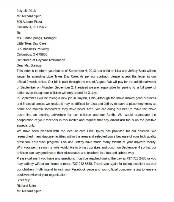 Daycare Termination Letter Templates 12 Free Sample
