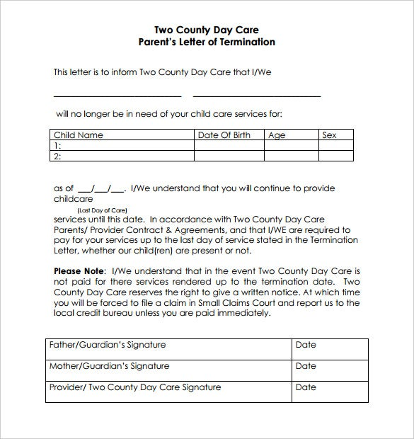 two county day care parents letter of termination pdf format