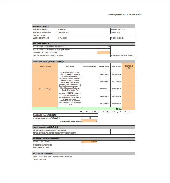 Delightful ... Task Report Template By Weekly Report Template 10 Free Word Excel Pdf  ...